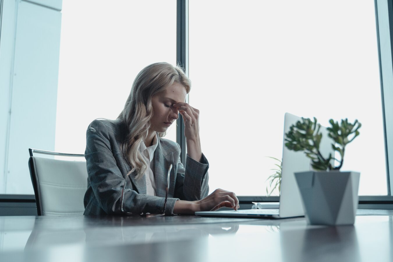 A female employee representing the benefits of remote working