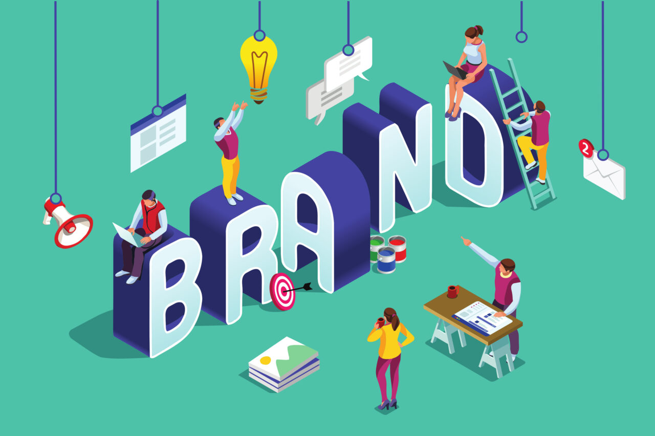 A vector illustration shows you how to build your brand in 2021.