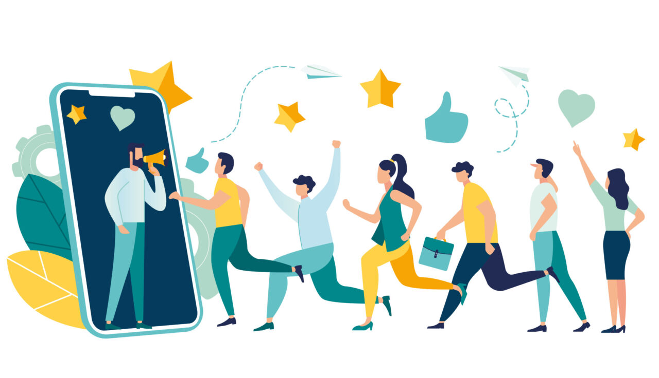 A vector illustration shows a line of people going to a digital platform that can help with attaining consumer loyalty.