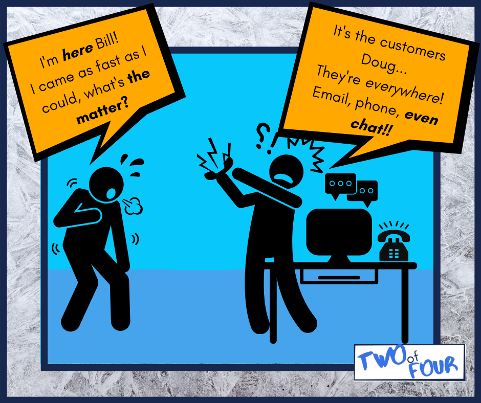 A comic strip showing two guys talking about business growth