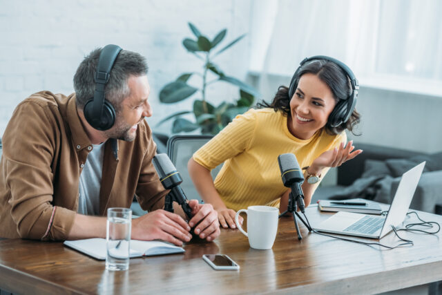 two radio hosts talking about podcast listener experience