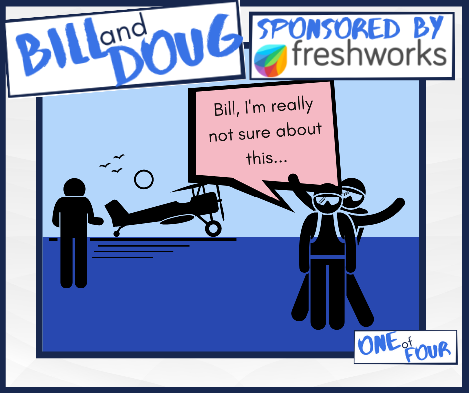 A comic strip showing two people delivering a faster customer service