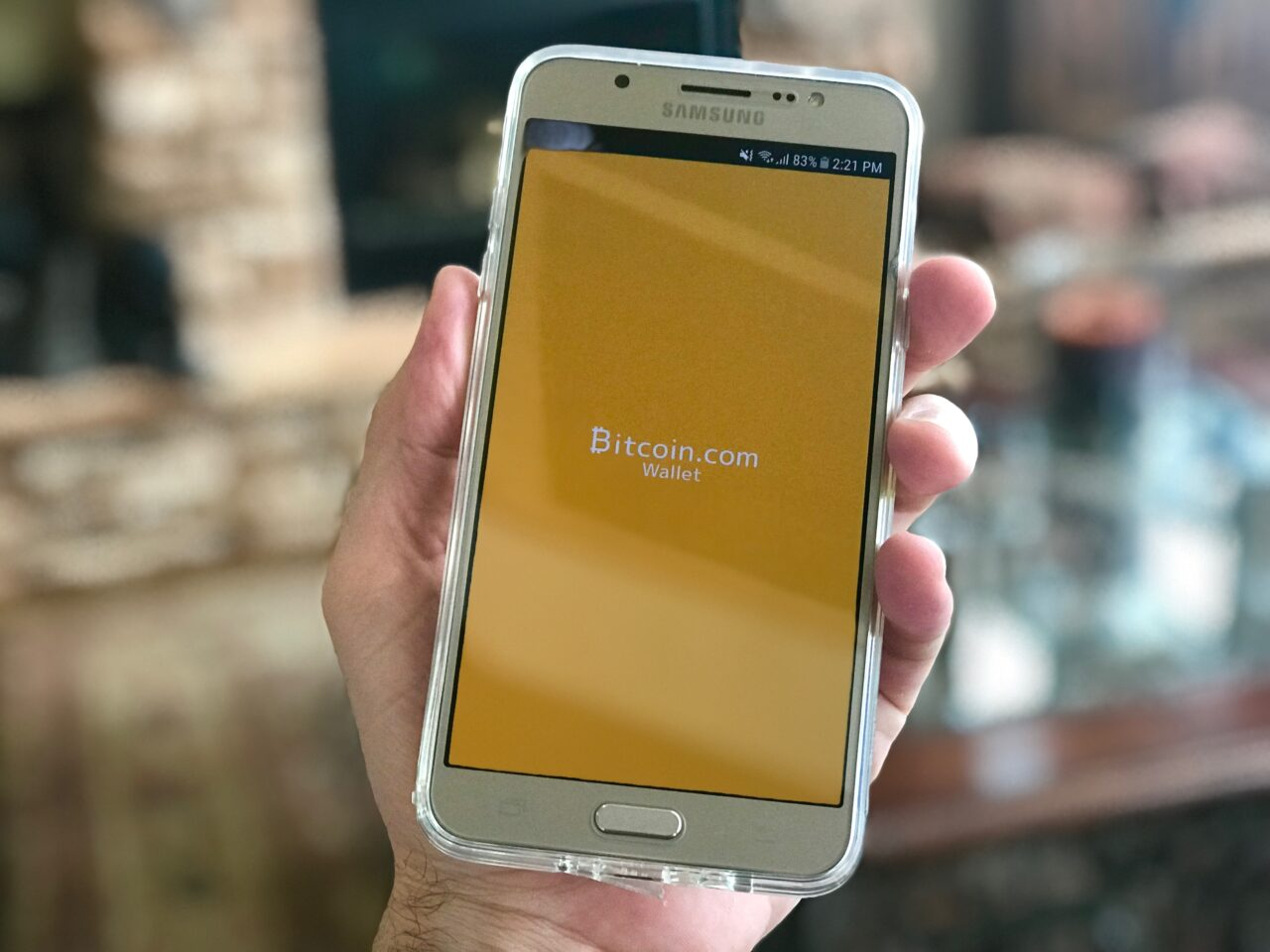A person holding a phone with bitcoin wallet on the screen