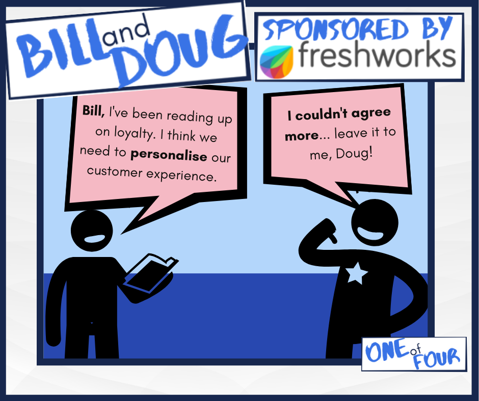 A comic shows two characters talking about personalisation in CX.