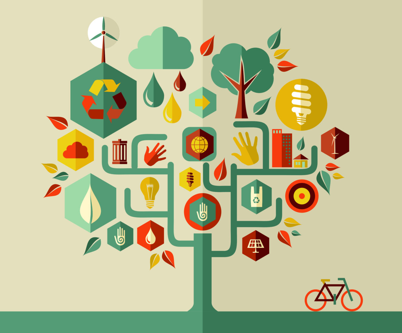 A vector tree shows the most important points in delivering sustainability in communications.