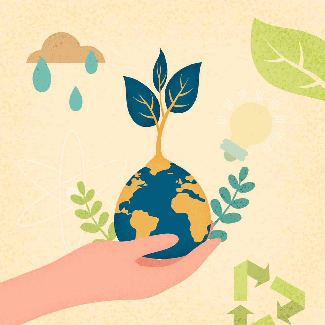A vector picture shows a hand holding a sustainable world.