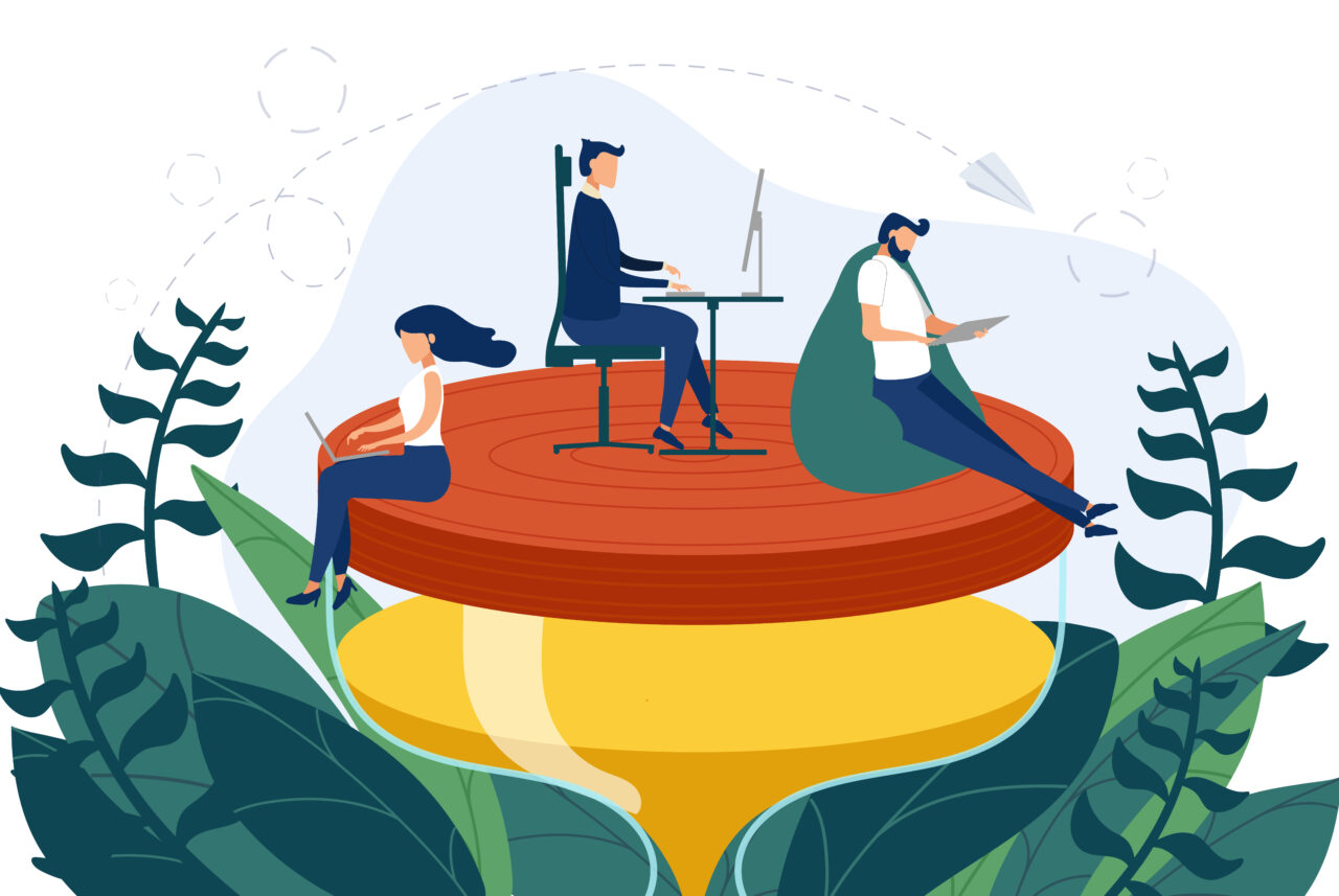 An illustration shows people working on an hourglass and a tree, which represents employee wellbeing.