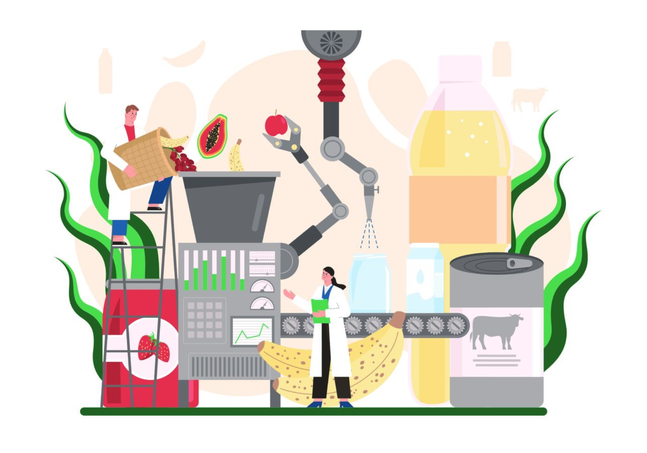 An illustrated image shows a machine and a worker, which reflects on the topic of Covid-19 accelerating digitalization in the manufacturing industry.