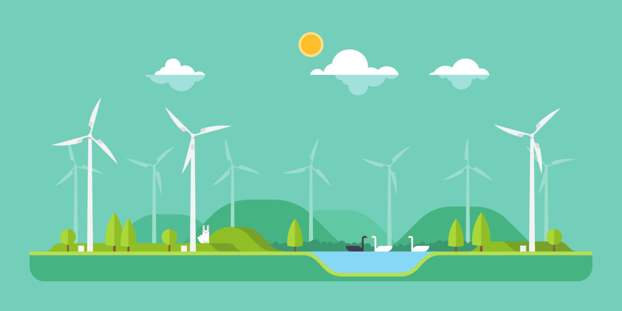 An illustration shows wind turbines and indicates wind power in the UK might be our green future.