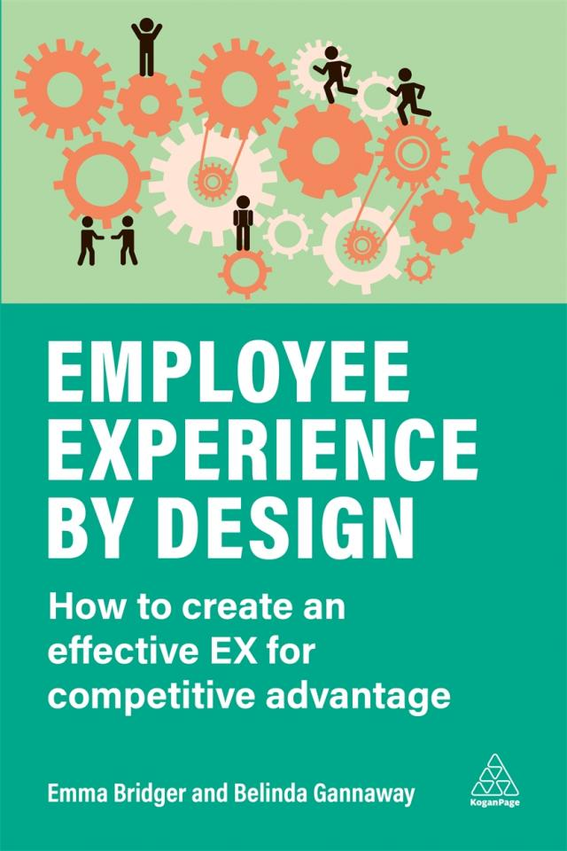 A book cover saying employee experience by design and showing how a group of people designing employee experience collaboratively.