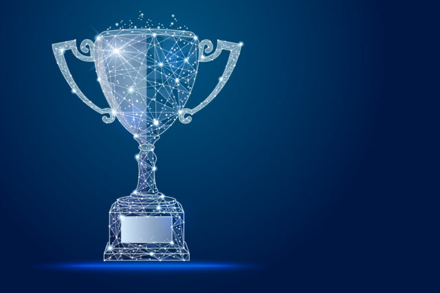 A trophy illustration made for Digital Experience Awards in 2021.