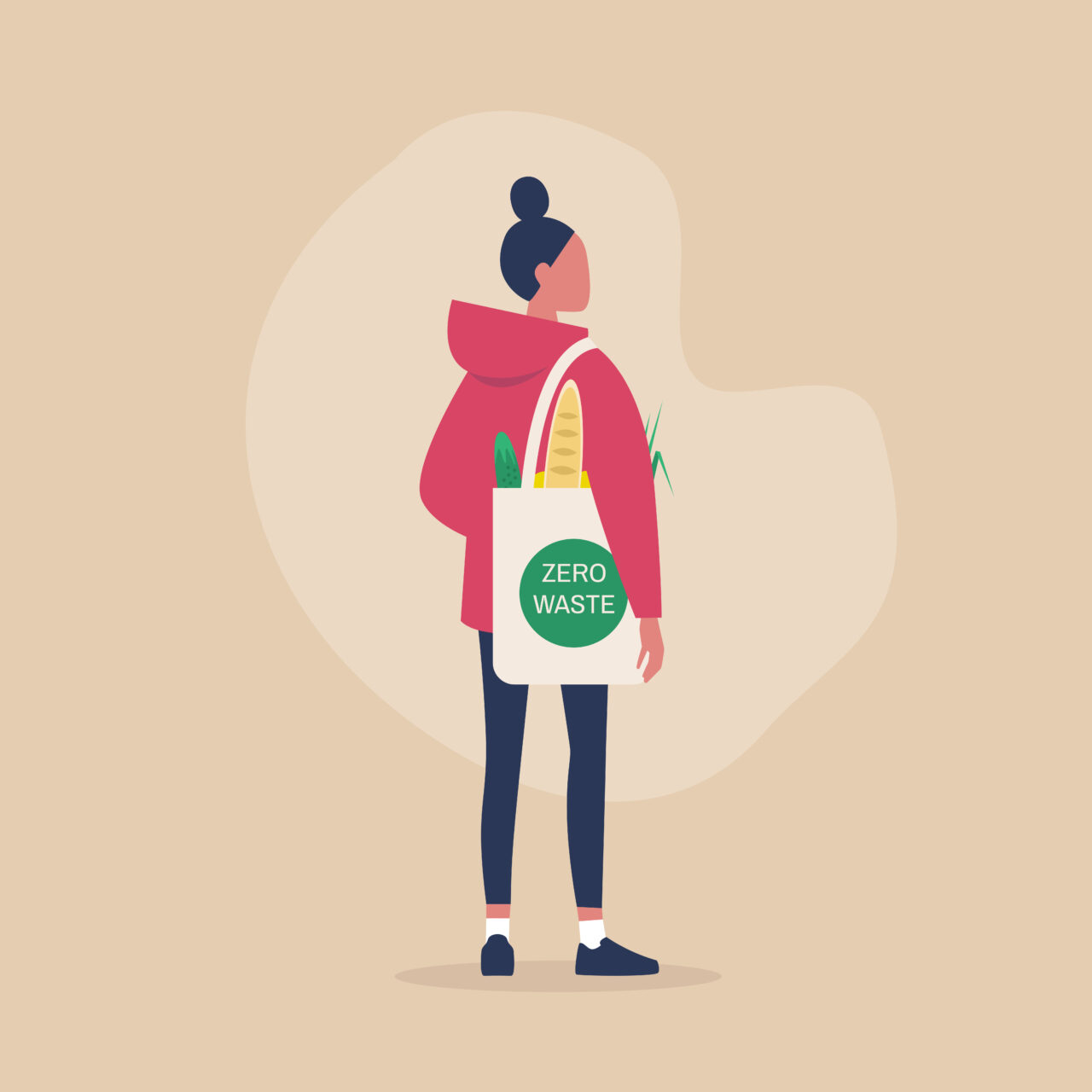 The conscious consumer holds a bag with a tag Zero Waste.