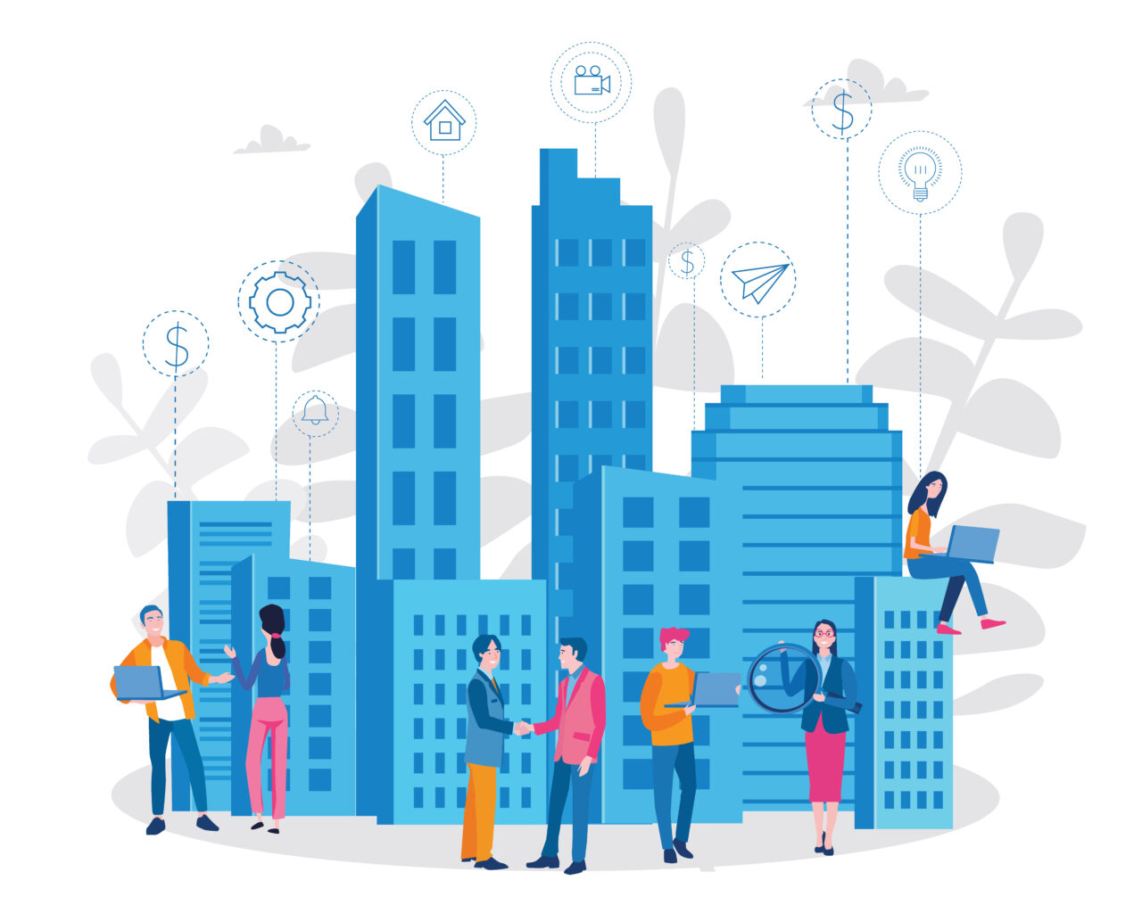 An illustration shows people in front of buildings who talk and work.