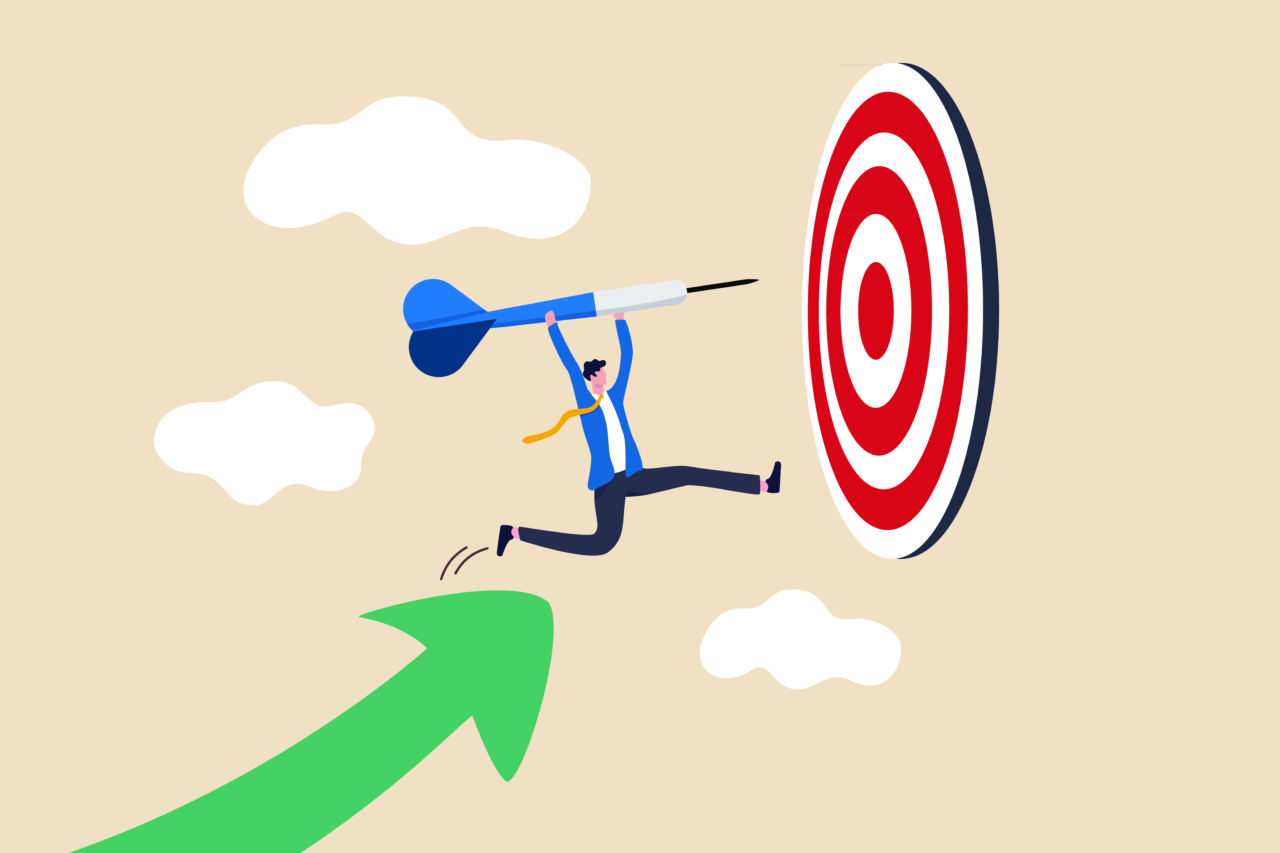 an illustrated image showing a person targeting a long term business impact.