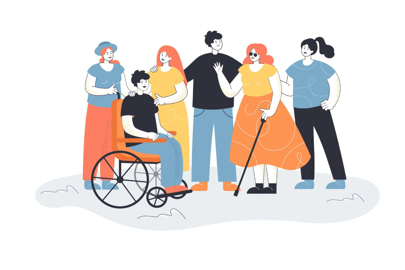 An illustration shows people with different needs and demonstrates the importance of raising disability awareness.