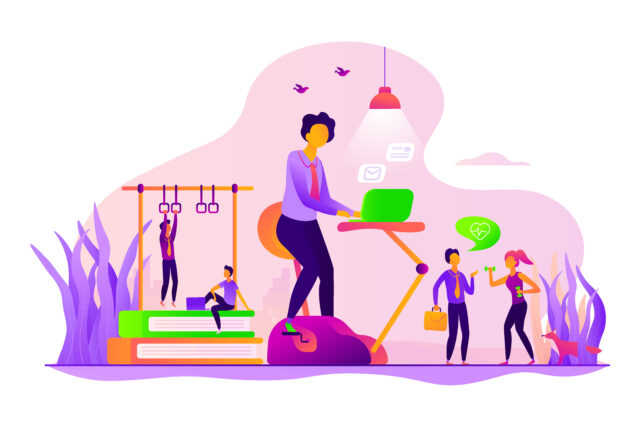 An illustration shows people working from home in a flexible work culture.