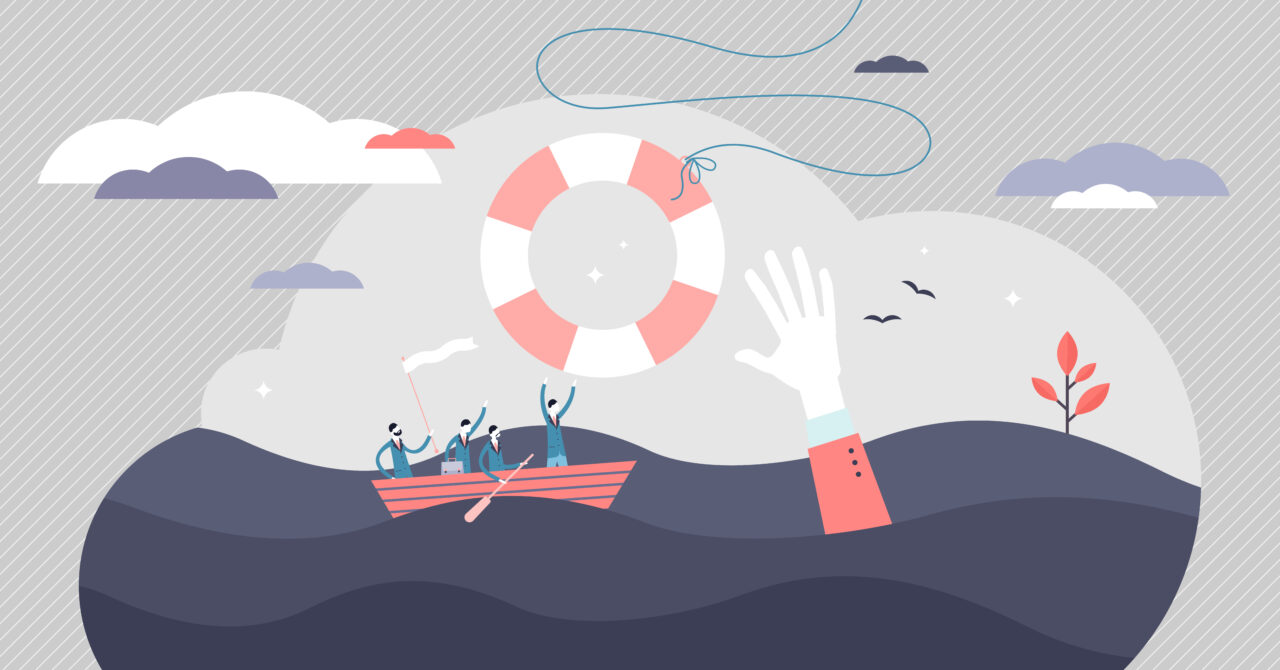 An illustration shows a hand from the water helping people in the boat survive in a storm.