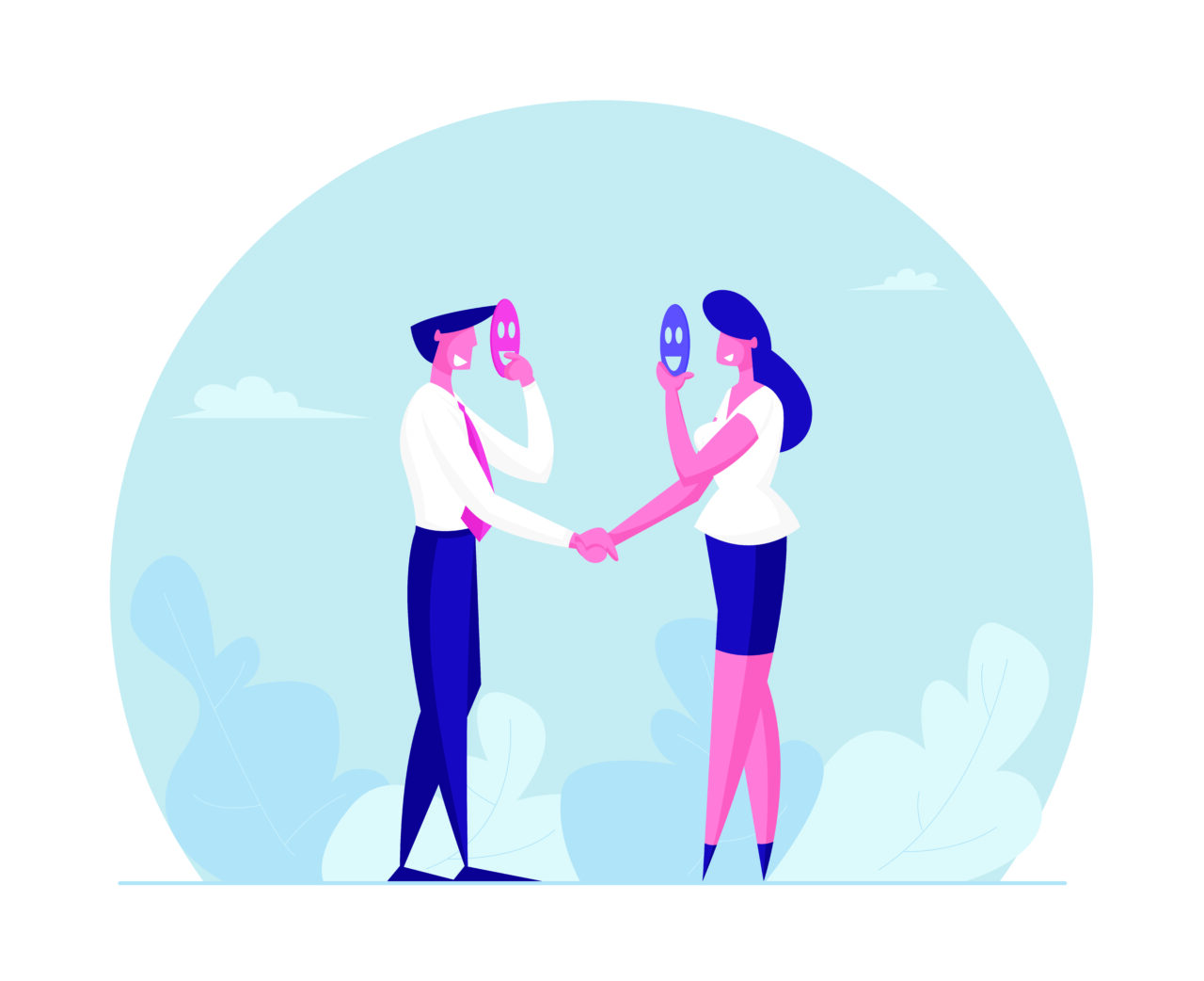 an illustrated image showing two people getting to know each other and reveal customers lies.
