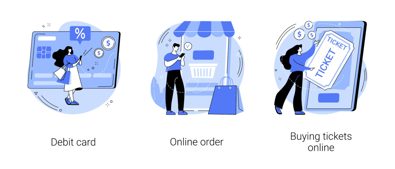 An illustration shows people buying an airlines ticket online.