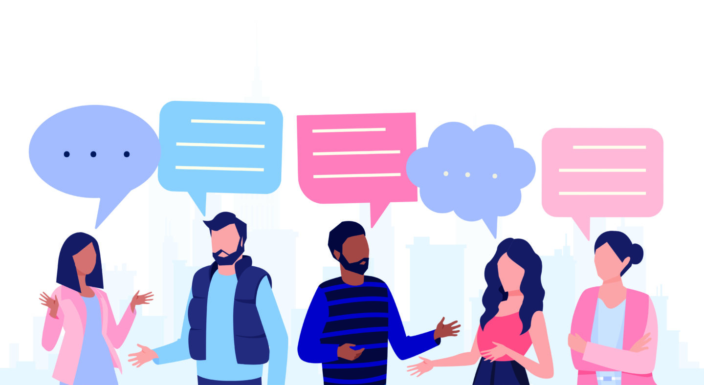 an illustrated image showing communication with customers