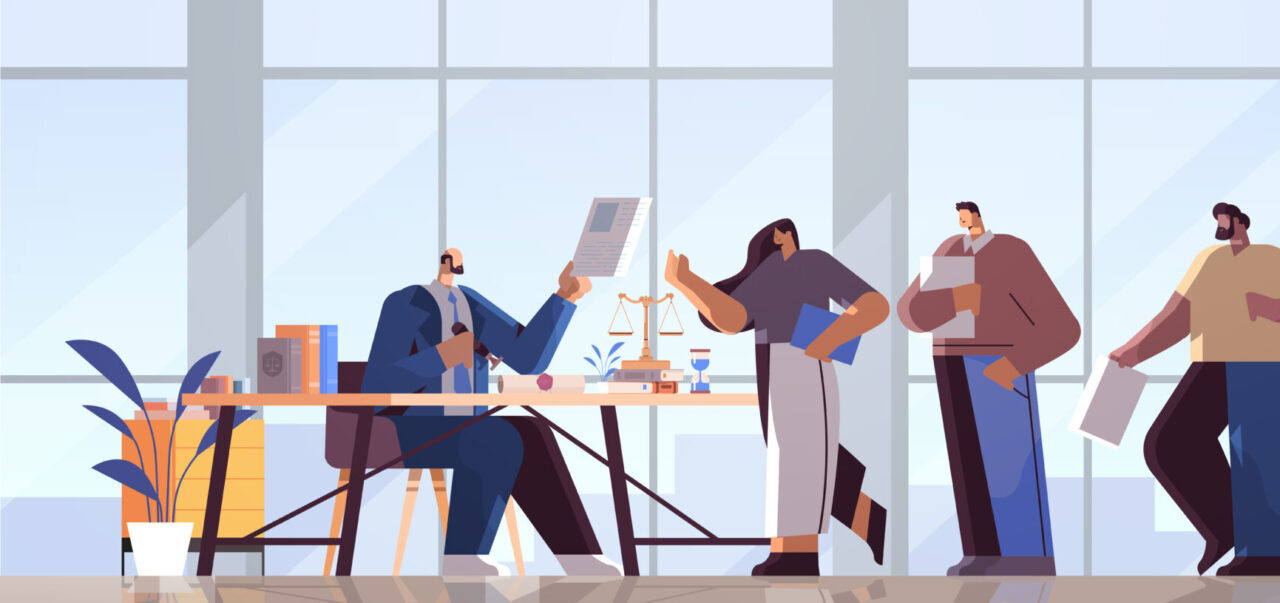 An illustration shows an employer managing a Customer Experience recruitment process.