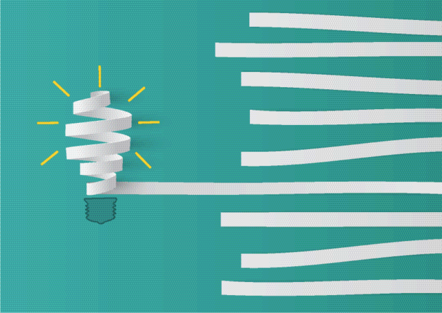 an image showing a bulb from paper stripes demonstrating a culture of innovation