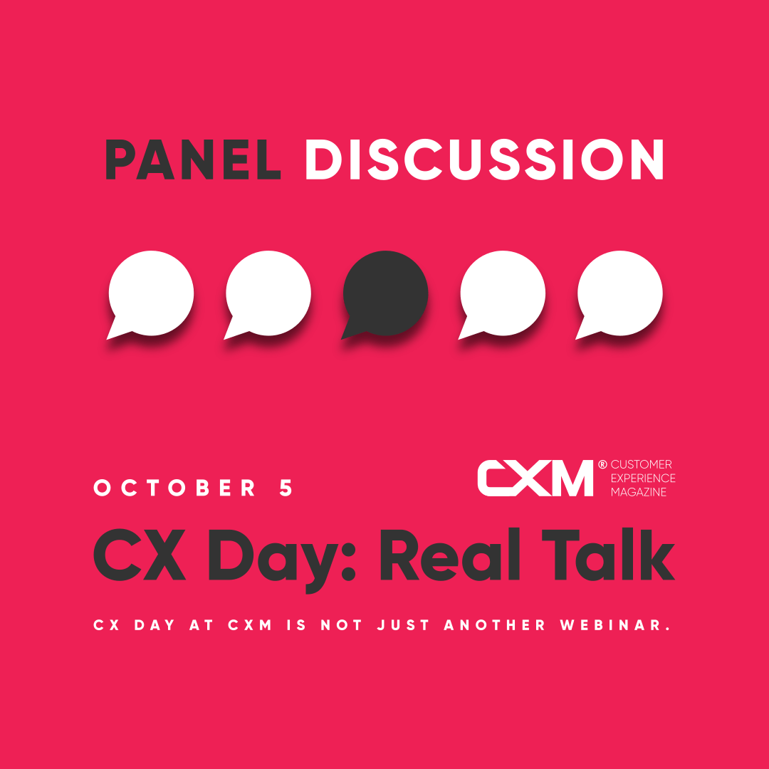The photo contains speech balloons to illustrate a panel discussion.