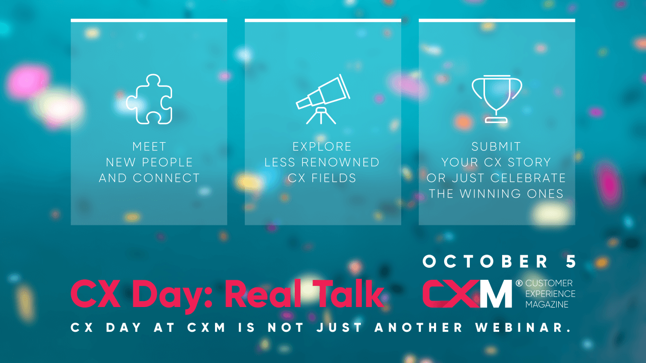 The banner shows important information about the CX day at CXM.