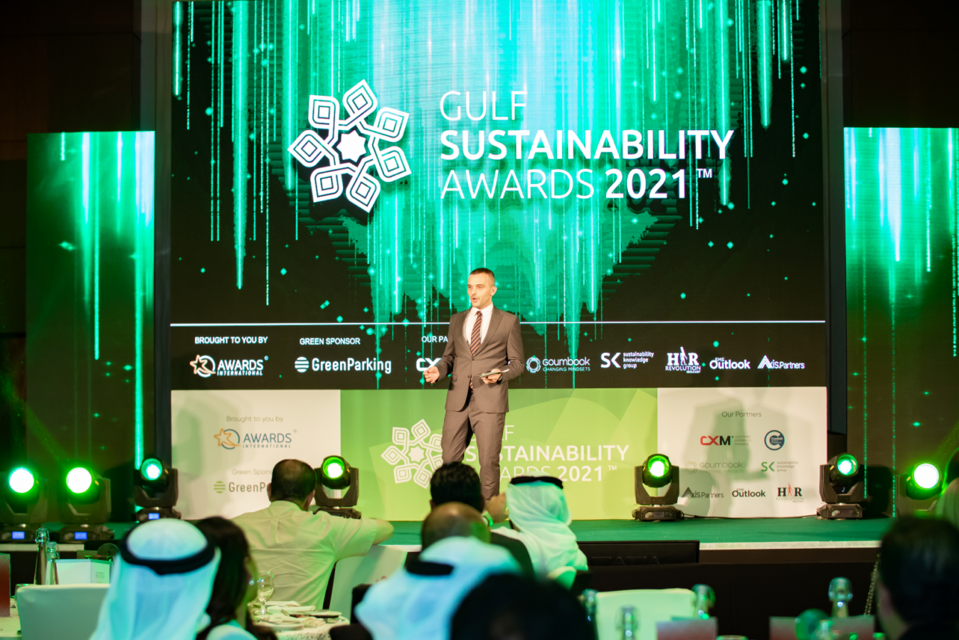 The photo shows the introduction of the Gulf Sustainability Awards 2021.