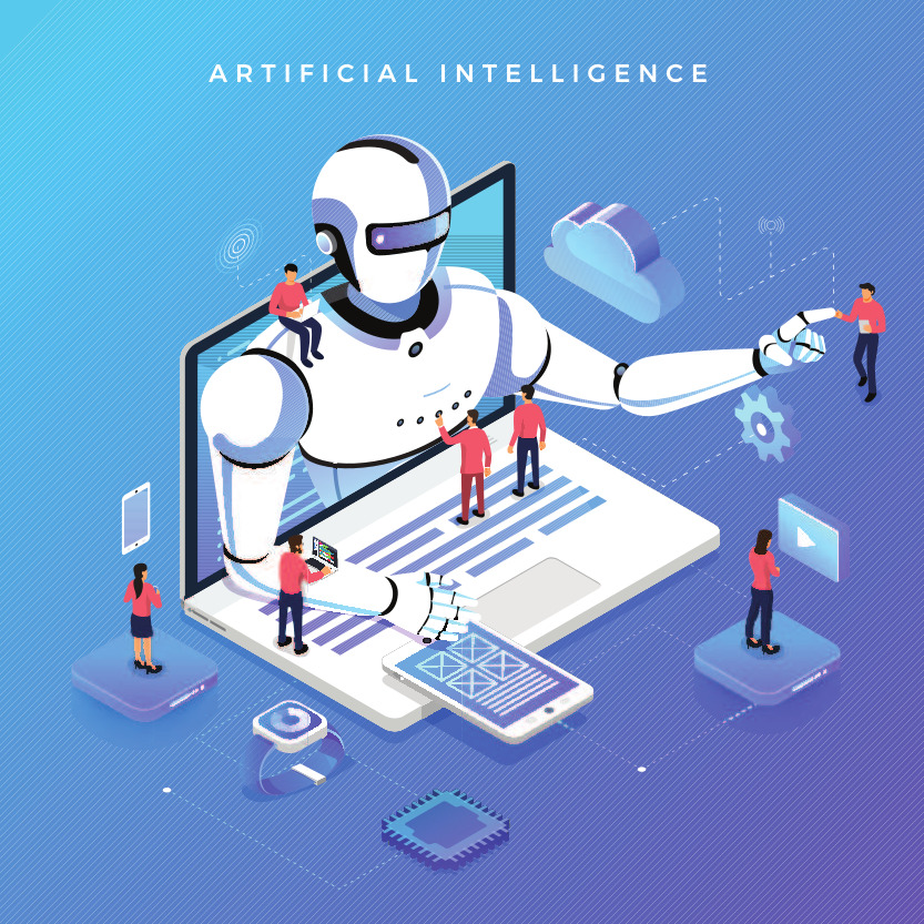 An illustration shows people working on artificial intelligence.