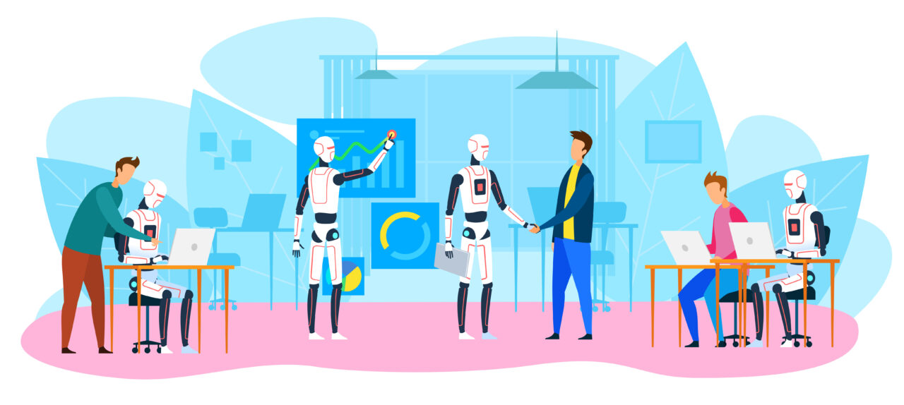 An illustration shows people working with robots to improve CX technology.