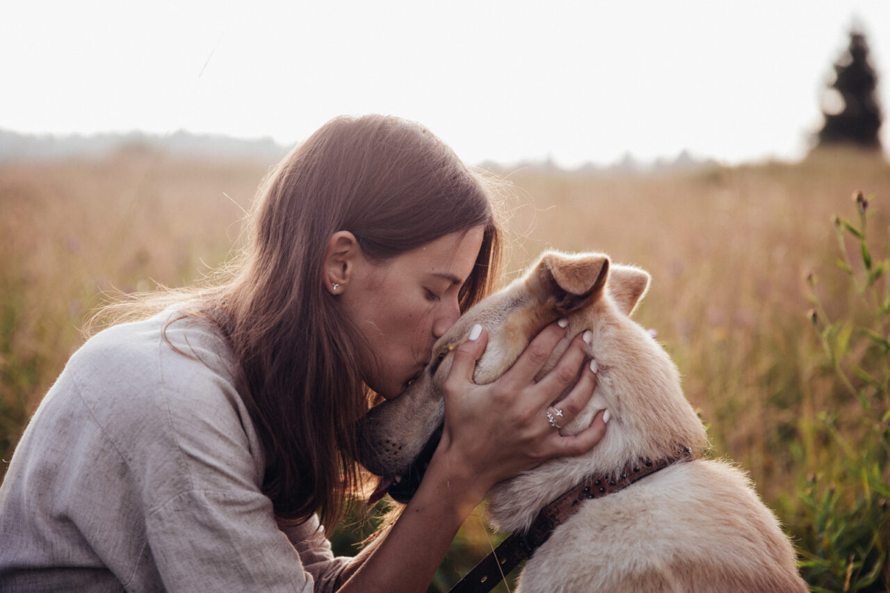 A woman kisses a rescued dog.