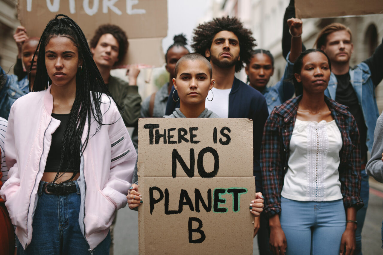 A group of young activists and customers advocating for a greener planet.