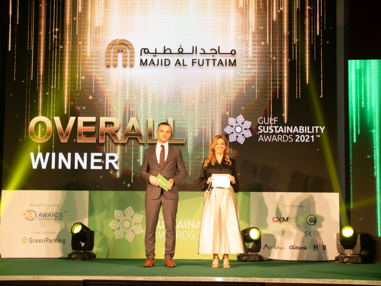 Aleksandar Ilic and Renata Liuzzi pose for the audience before announcing the winners of GSA 2021.