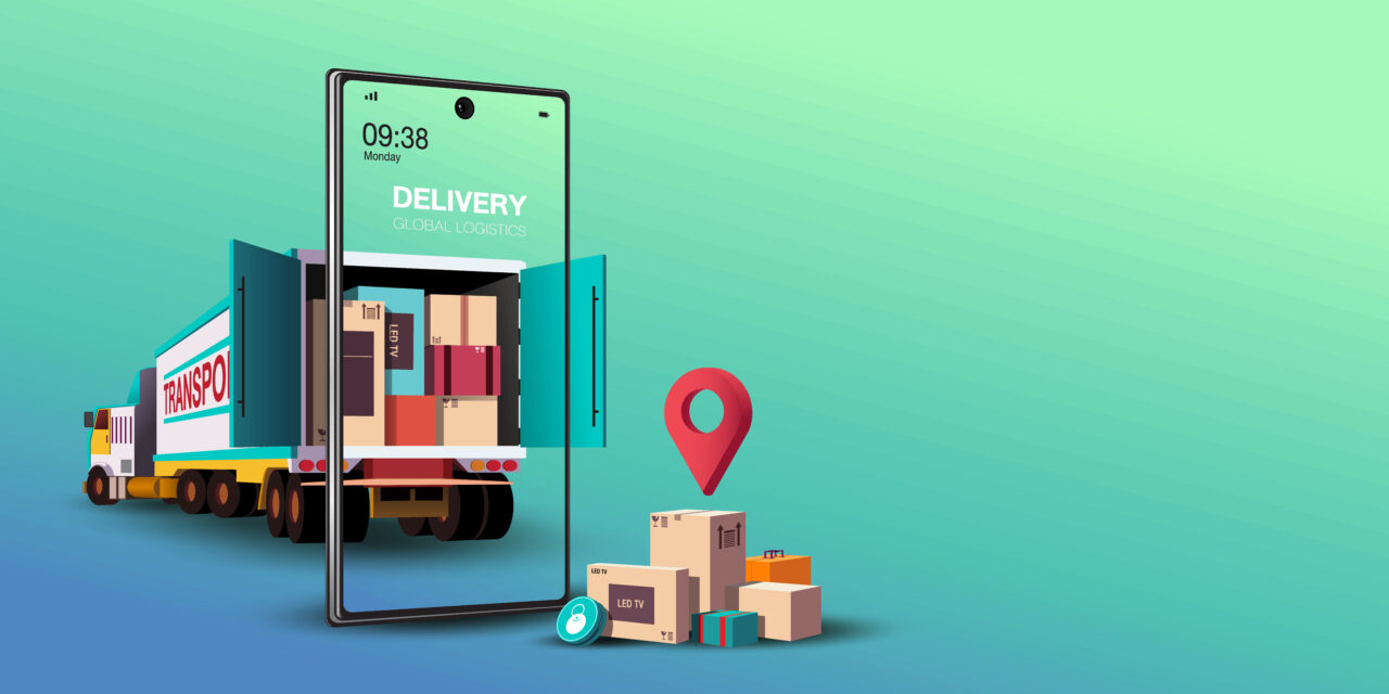 An illustration shows a phone app used for online shopping and delivery tracking.