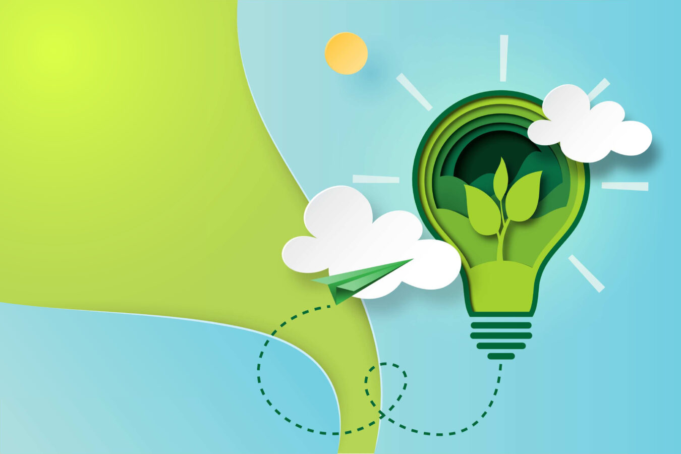 An illustration of a green paper bulb stands for the Spotify sustainability report.