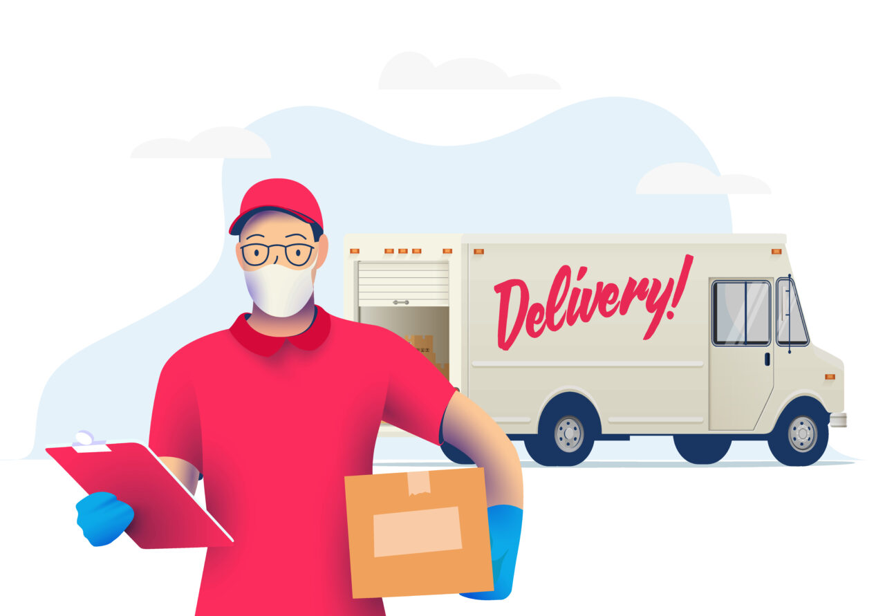 The illustration shows a man carrying a package out of a delivery truck.