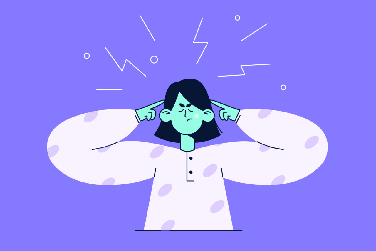 An illustrated image showing a person being stressed because she lacks inclusive language in CX communication strategy.